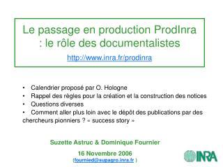 Le passage en production ProdInra : le r le des documentalistes inra.fr