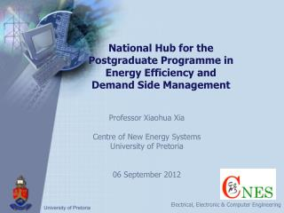 National Hub for the Postgraduate  Programme  in Energy Efficiency and Demand Side Management