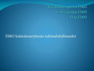 Kalatalousryhmä ESKO  Fiskerigrupp  ESKO Flag  ESKO
