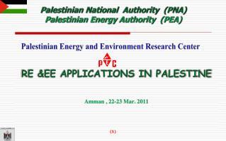 RE &EE Applications in Palestine Amman , 22-23 Mar. 2011