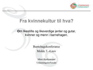 Barnehagekonferanse  Molde 3.-4.nov Mimi Bjerkestrand Utdanningsforbundet