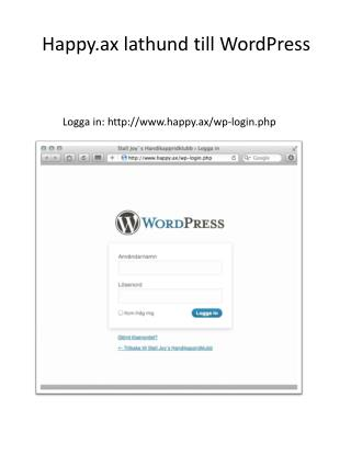 Logga  in:  happy.ax / wp-login.php