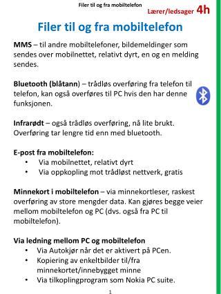 Filer til og fra mobiltelefon