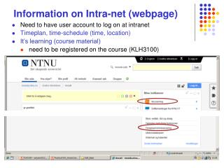 Information on Intra-net (webpage)