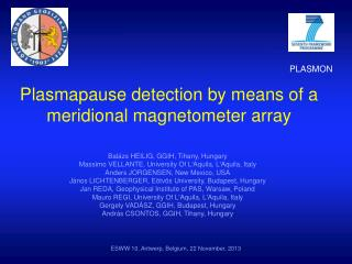 Plasmapause detection by means of a meridional magnetometer array