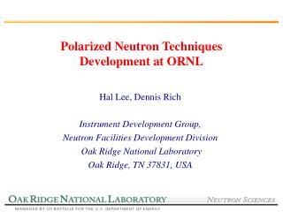 Polarized Neutron Techniques Development at ORNL