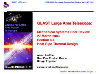 GLAST Large Area Telescope: Mechanical Systems Peer Review 27 March 2003 Section 4.4