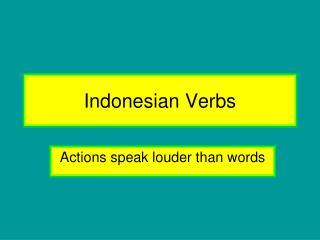 Indonesian Verbs