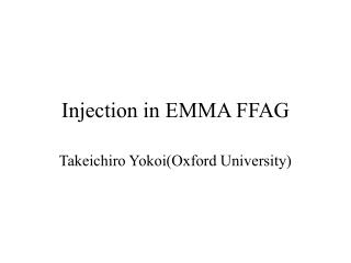 Injection in EMMA FFAG