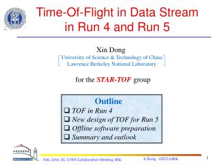 Time-Of-Flight in Data Stream  in Run 4 and Run 5