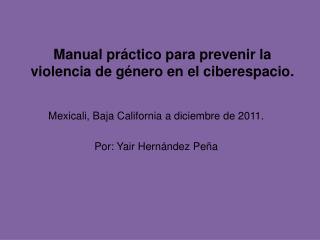 Manual práctico para prevenir la violencia de género en el ciberespacio.