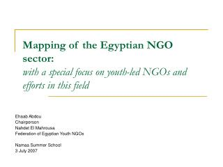 Ehaab Abdou Chairperson Nahdet El Mahrousa Federation of Egyptian Youth NGOs Namaa Summer School
