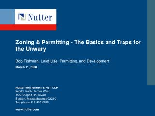 Zoning & Permitting - The Basics and Traps for the Unwary