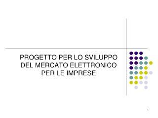 PROGETTO PER LO SVILUPPO DEL MERCATO ELETTRONICO PER LE IMPRESE