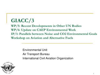 Environmental Unit Air Transport Bureau International Civil Aviation Organization