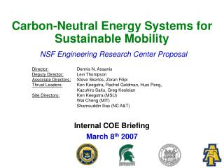 Carbon-Neutral Energy Systems for Sustainable Mobility
