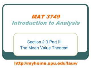MAT 3749 Introduction to Analysis