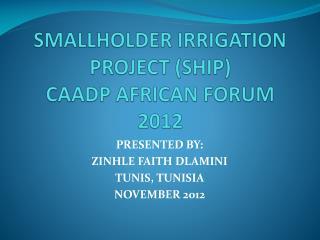 SMALLHOLDER IRRIGATION PROJECT (SHIP) CAADP AFRICAN FORUM 2012