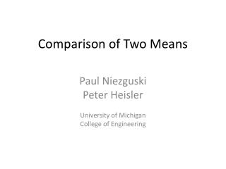 Comparison of Two Means