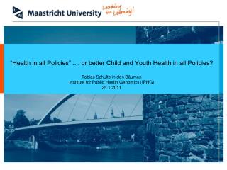 The guiding principles and concepts of EU health policies :  Health in All Policies approach