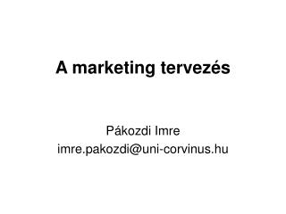 A marketing tervezés