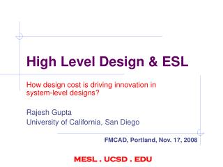 High Level Design & ESL