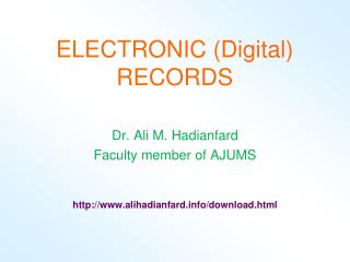 ELECTRONIC (Digital)  RECORDS
