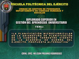 ESCUELA POLITÉCNICA DEL EJÉRCITO UNIDAD DE GESTION DE POSGRADOS