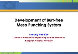 Development of Burr-free  Meso Punching System