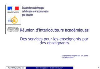 Réunion d'interlocuteurs académiques Des services pour les enseignants par des enseignants