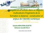 Module d Intercompr hension en 11 langues et ePortfolio dans un Mster multiculturel d Ing nierie de la formation   dista