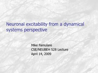 Neuronal excitability from a dynamical systems perspective