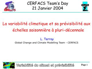 Variabilité du climat et prévisibilité
