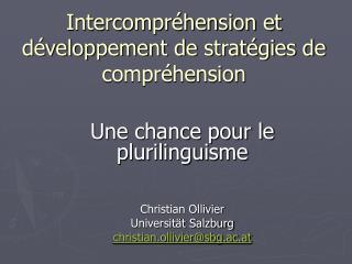 Intercompr hension et d veloppement de strat gies de compr hension