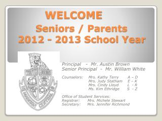Seniors / Parents 2012 - 2013 School Year