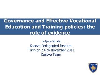 Governance and Effective Vocational Education and Training policies: the role of evidence
