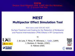 ECM'08 Electron Cloud Mitigation 2008  (CARE-HHH Mini-Workshop)  20 – 21 November 2008, CERN