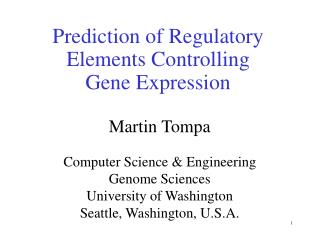 Prediction of Regulatory Elements Controlling  Gene Expression