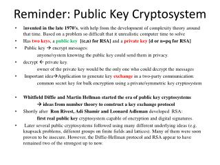 Reminder: Public Key Cryptosystem