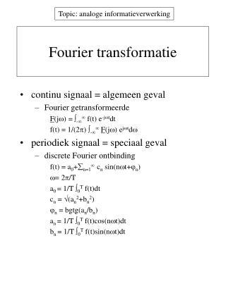 Fourier transformatie