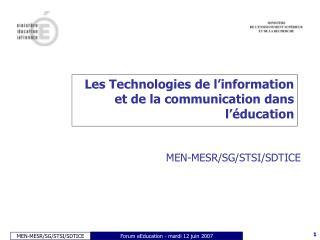 Les Technologies de l'information et de la communication dans l'éducation