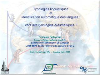Typologies linguistiques et identification automatique des langues :   vers des typologies automatiques