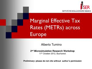 Marginal Effective Tax Rates (METRs) across Europe