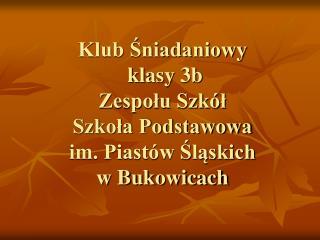 Klub Śniadaniowy  klasy 3b  Zespołu Szkół Szkoła Podstawowa  im. Piastów Śląskich  w Bukowicach