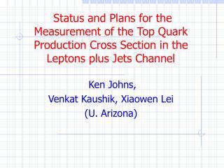 Ken Johns,  Venkat Kaushik, Xiaowen Lei (U. Arizona)
