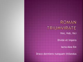 Roman triumvirate