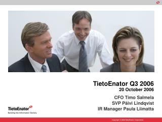 TietoEnator Q3 2006 20 October 2006