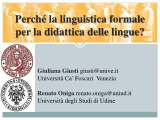 Perché la linguistica formale  per la didattica delle lingue?