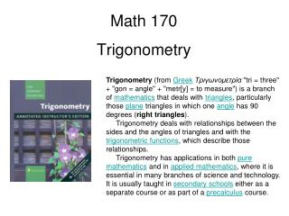Math 170 Trigonometry