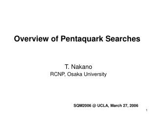 Overview of Pentaquark Searches